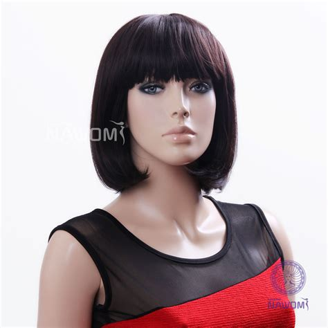 neck length haircuts for straight hair hot synthetic fiber chestnut blunt bangs neck length
