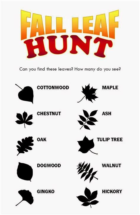 printable leaves and names free printable for a fall leaf scavenger hunt fall