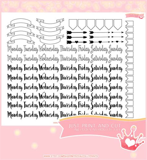 printable stickers journal bullet journal simple weekdays printable planner stickers