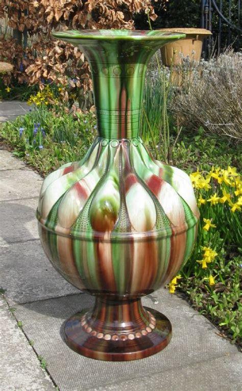Floor Standing Vases by Large Majolica Floor Standing Vase Circa 1880