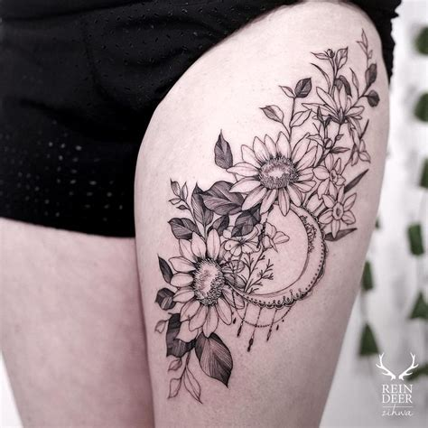 best 25 thigh tattoos ideas collection of 25 color ink flower tattoos on thigh