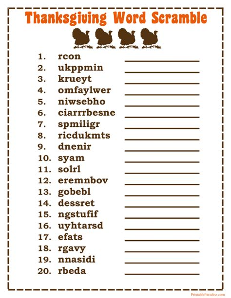 Word For Adults Printables