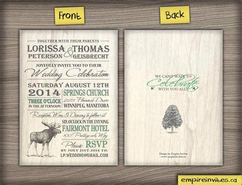 wedding invitations canada custom nature rustic wedding invitations canada empire invites