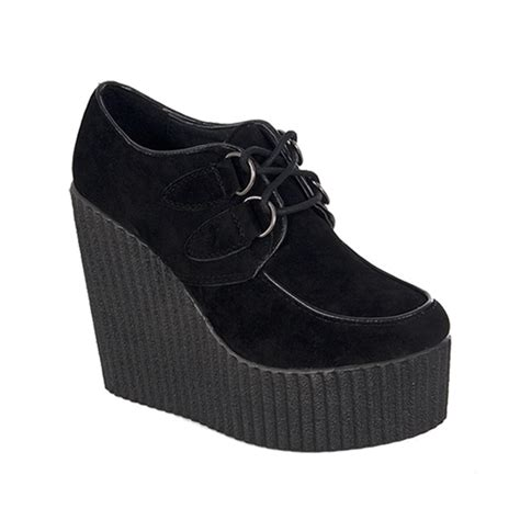 the creeper shoes black vegan suede wedge creepers sinistersoles