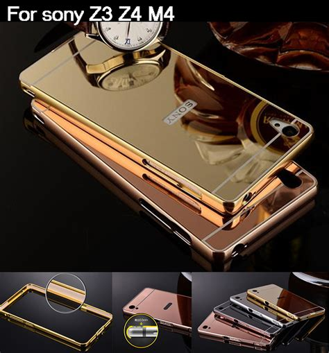 Sony Xperia M4 Aqua Bumper Luphie Casing Mewah Metal luxury aluminum mirror bumper for sony xperia m4 aqua frame pc back cover metal coque funda for
