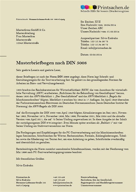 Musterbrief Din 5008 Musterbrief Nach Din 5008