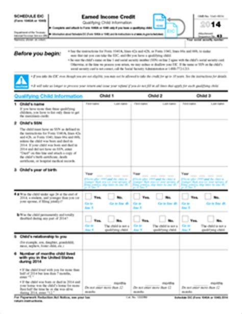 Schedule Eic Worksheet by Form 1040 Schedule Eic Fillable Earned Income Credit