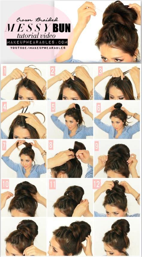 5 minute crown braid bun hairstyle hair