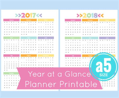 printable year at a glance planner a5 year at a glance calendar 2017 year at a glance