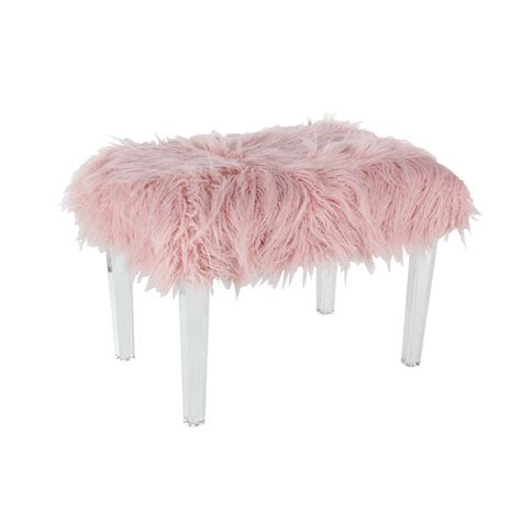 blush pink fur chair square blush fur wood stool pinup pink faux fur stool