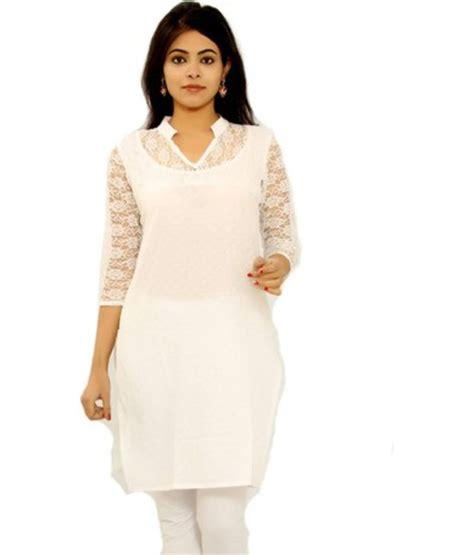 kurti pattern in white buy white cotton embroidered designer kurti online
