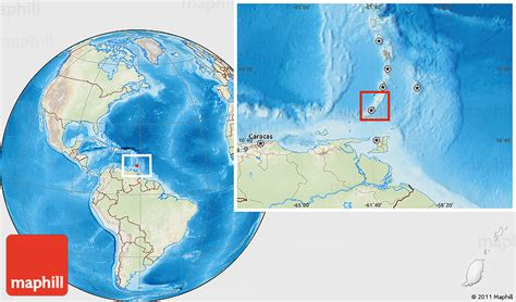 where is grenada located on a world map physical location map of grenada lighten land only