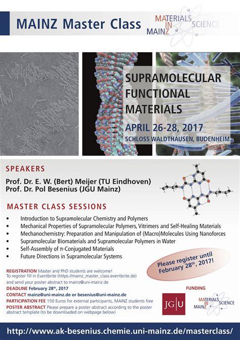 Bewerbungsfrist Master Uni Mainz Mainz Masterclass On Supramolecular Functional Materials Besenius Lab Supramolecular Materials