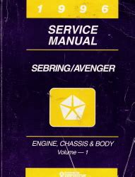 1996 chrysler dodge sebring and avenger fj22 service manual 1996 chrysler sebring dodge avenger service manual