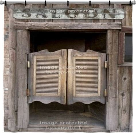 old western home decor old western swinging saloon doors with sign shower curtain