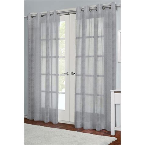 Silver Sheer Curtains Silver Grey Grommet Sheer Panel Moshells