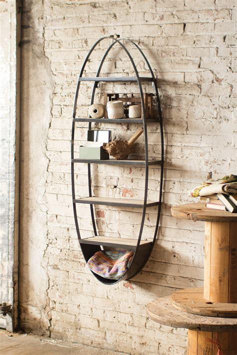 wood  metal oval shelf