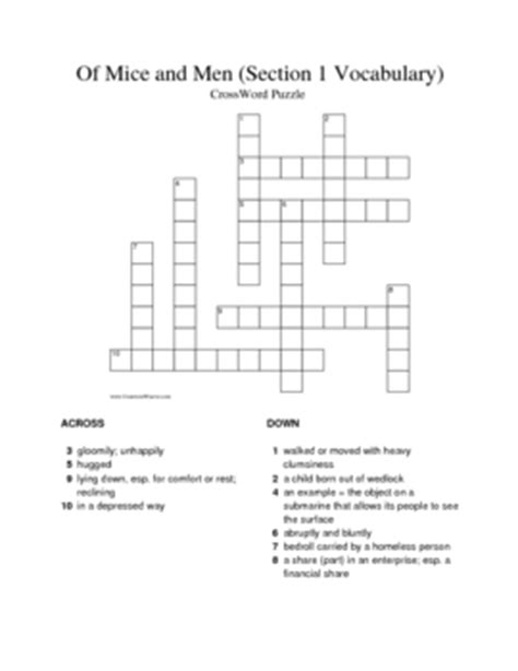 of mice and men section 1 of mice and men section 1 vocabulary crossword by keith