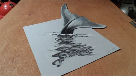 3d Drawing by 3d Drawing Blue Whale How To Draw 3d Whale