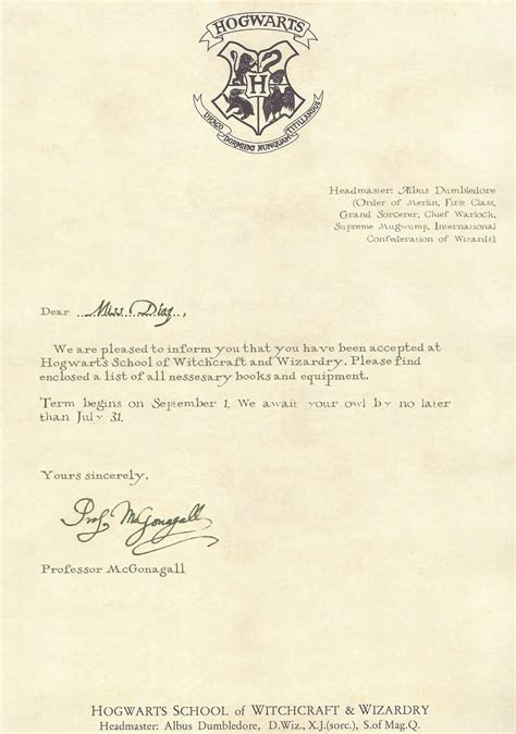 Hogwarts Acceptance Letter Official Hogwarts Acceptance Letter 1 2 By Desiredwings On Deviantart