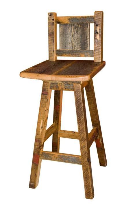 swivel bar stool handcrafted  reclaimed barnwood
