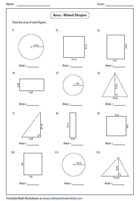Area Of Shapes Worksheet area worksheets