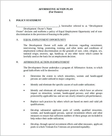 affirmative policy template sle affirmative forms this compliance form