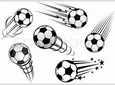 Speeding footballs or soccer balls set in black and white ... Exercise Clip Art Free To Copy