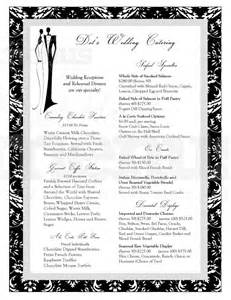 black and white menu black and white wedding catering menu page 1