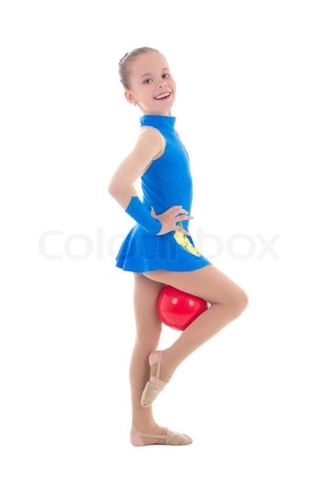 gymnastic little girl cute little girl doing gymnastics with ball isolated on