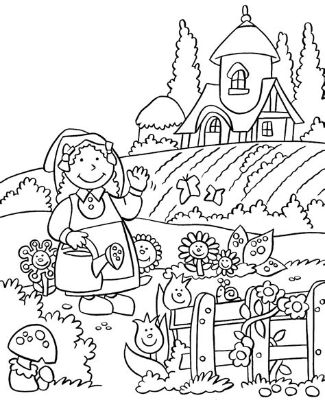 My Little House Anna And The Flower Garden Coloring Pages Coloring Pages Garden
