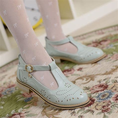High Heels C072 womens retro vintage brogue leather t bar janes