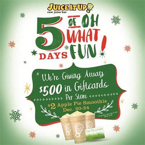Juice It Up Gift Card - juice it up announces 5 days of quot oh what fun quot holiday promotion