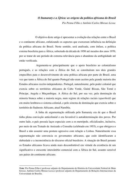 (PDF) O Itamaraty e a África: as origens da política