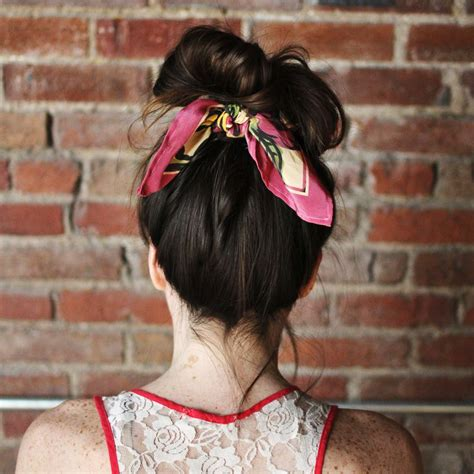 how to do a bun at the base of the neck style your hair in a messy bun and tie the scarf around