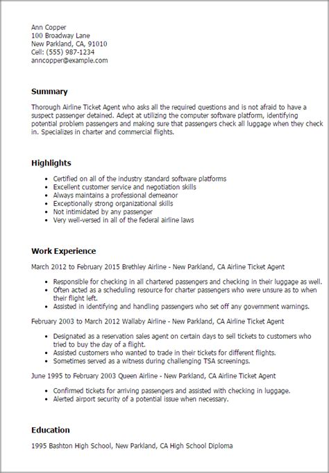 Airline Ticket Cover Letter by Professional Airline Ticketing Templates To Showcase Your Talent Myperfectresume
