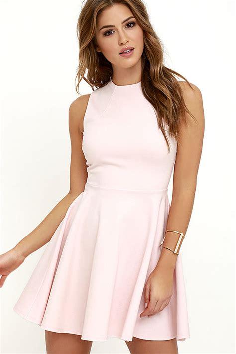 light pink skater dress light pink dress skater dress funnel neck dress