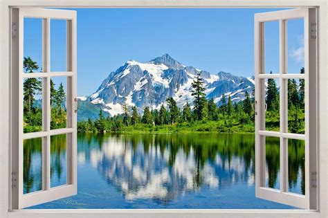 Window Decals Nature by Mountains 004 3d Window View Decal Wall Sticker Art Mural