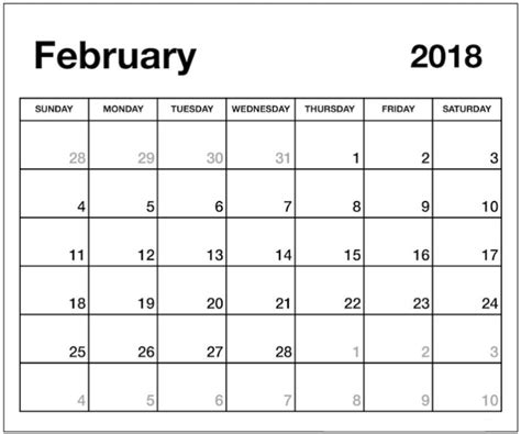 printable monthly calendar word document february 2018 calendar word document printable