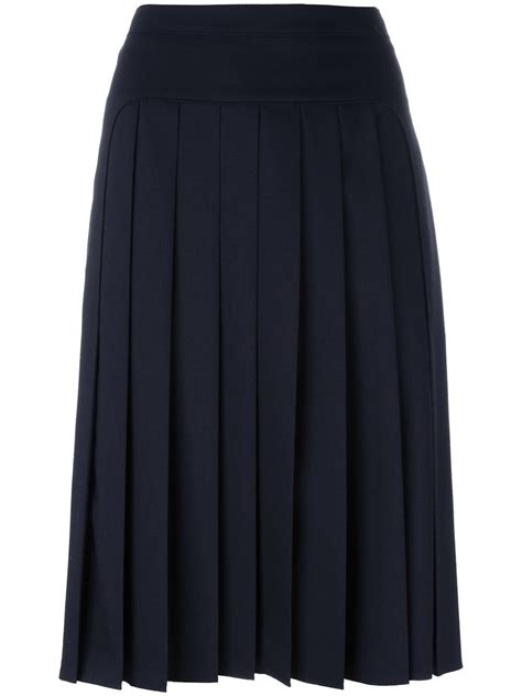 jil sander navy pleated skirt in blue lyst