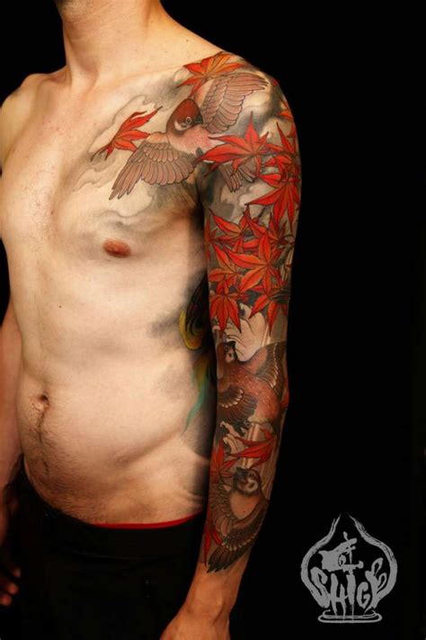 tattooed asian japanese feuille 233 rable tatouages