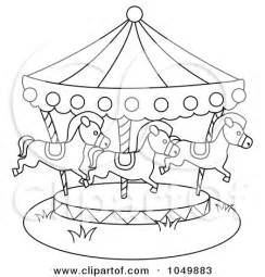 Vector Clipart Of A Carnival Carousel With Horses  Royalty Free sketch template