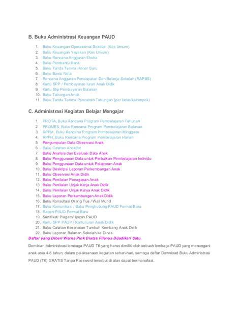 Buku 7 Of Honor buku aministrasi paud tk kb gratis bisa