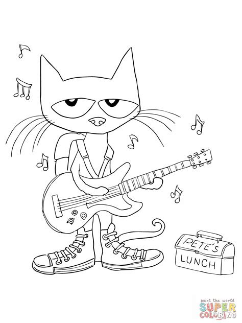 pete  cat rocking   school shoes coloring pagejpg
