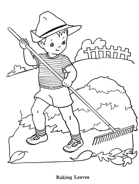 coloring pages of raking leaves free coloring pages of rake
