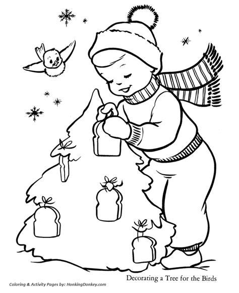 christmas tree coloring pages christmas yard tree bird