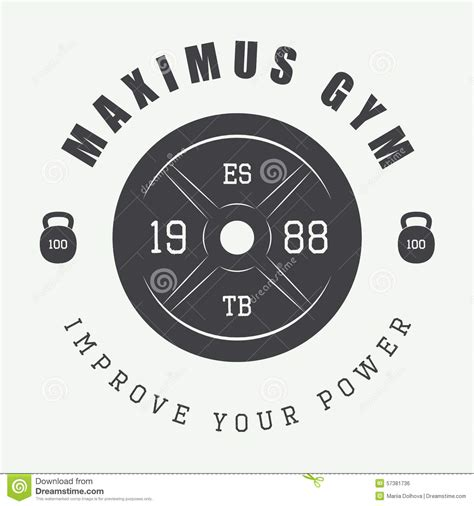 gym logo in vintage style vector illustration stock