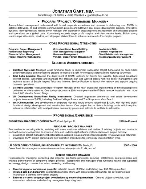 appealing it program manager resume sle displaying professional strengths and selected