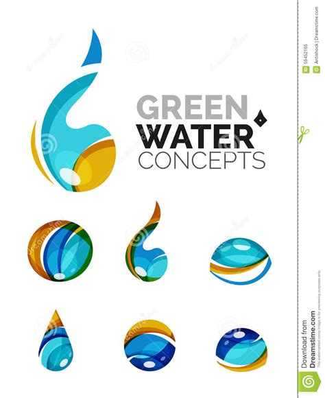 Company Creates Line Of Eco Set Of Abstract Eco Water Icons Business Logotype