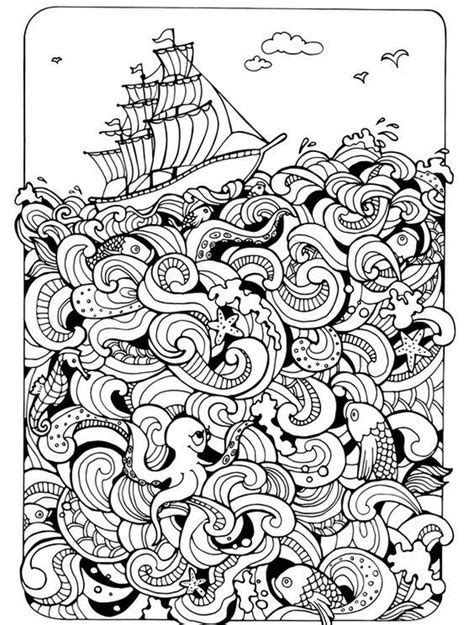 nautical coloring pages for adults ships nautical doodle hard coloring pages for adults